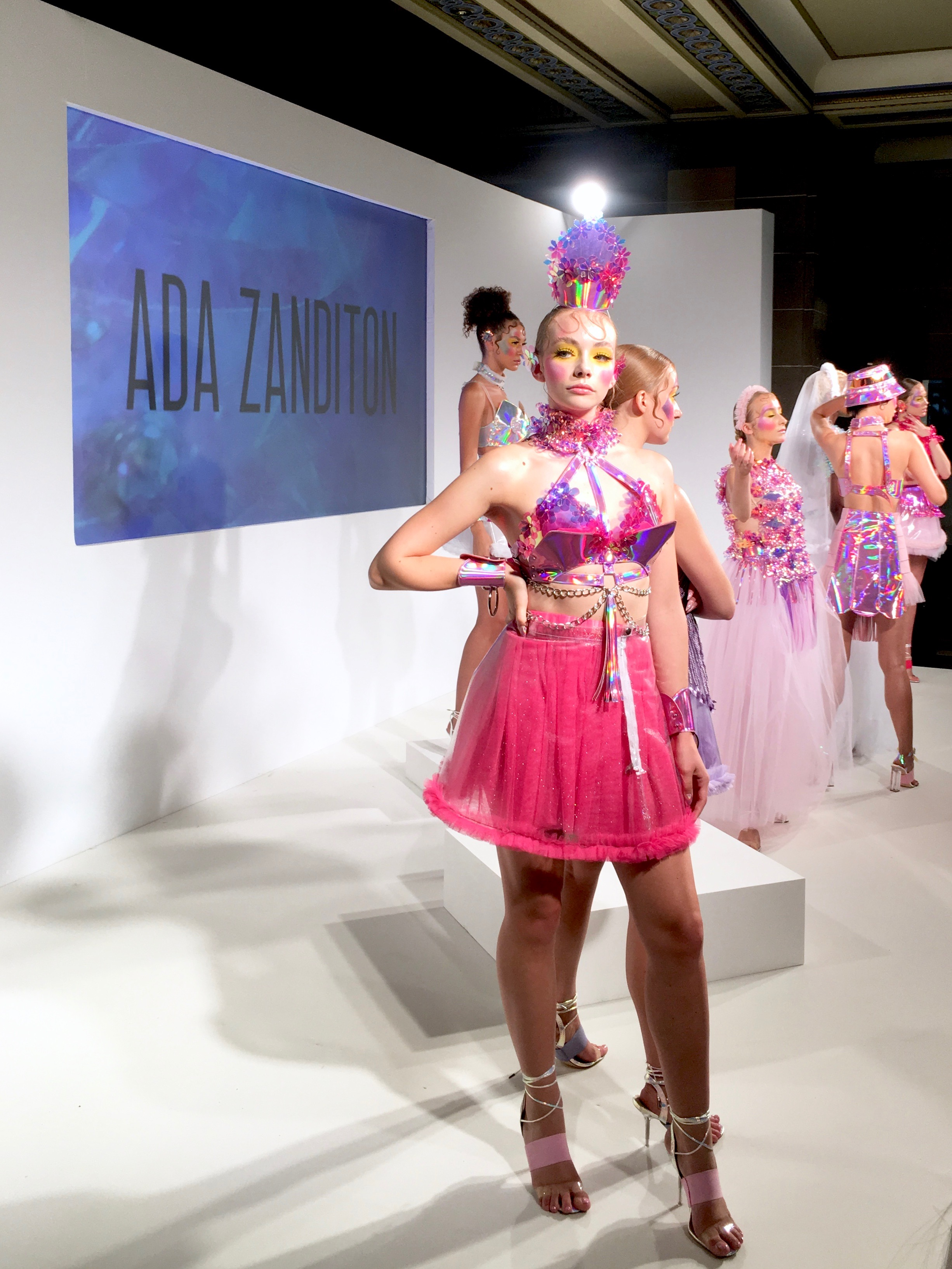 ada zandition - Next stop, the Ada Zandition accessories presentation, where popping pinks and purples were coupled with iridescent florals, metallic fringing and chain harnesses. There was a harmonious symmetry to the pieces that countered the sheer outrageousness of some, and made for an accessories collection NOT for the faint of heart.Colour lovers unite!