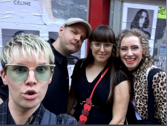 Celfie with Celine! - After the Edeline Lee show a little diversion was in order. So, having met up with Aaron [@aaronmarkstyling] and Ross [@fashionworked] we headed to Greek St where we lusted after several items at a pop-up shop, featuring some super-creative designers, like Hoh Pabissi... there may have been some trying on, group selfies and an Aperol Spritz or two!