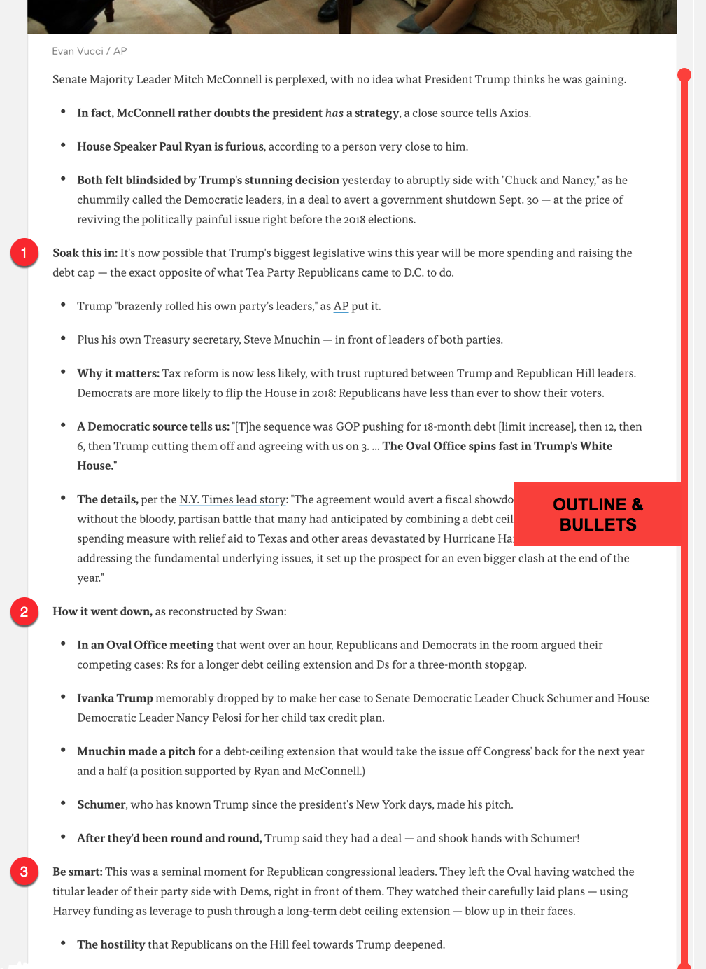 Skimmable Structure - BOLDFACE throughout spotlights key points. BULLET LIST style punches out each claim quickly (traditional news uses a full graf for most of its points). Lightweight OUTLINE chunks the article into 3 core sections.