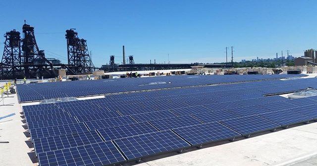 Clear skies and 1,200 KW in #JerseyCity , #NJ ,    . . . . . #Brooklynmadesolar #brooklynsolar #solarpv #commercialsolar #greenenergy #renewables #solarpower