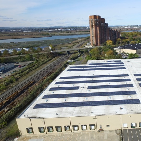 Great (partial) drone shot of 538 kW in #secaucusnj . Completed in 2016. . . . . . #brooklynmade #brooklynmadesolar