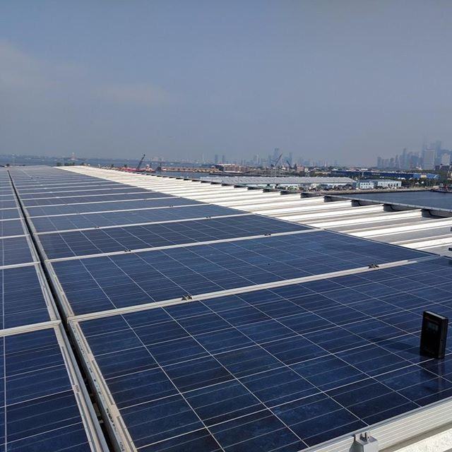 Photo from an O&M site visit to our 900 kW project on a standing seam roof in Queens, NY.
