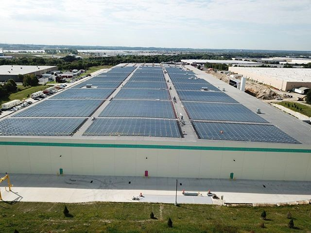 Woah - stunning view of  our almost complete 5 MW rooftop array in New Jersey.