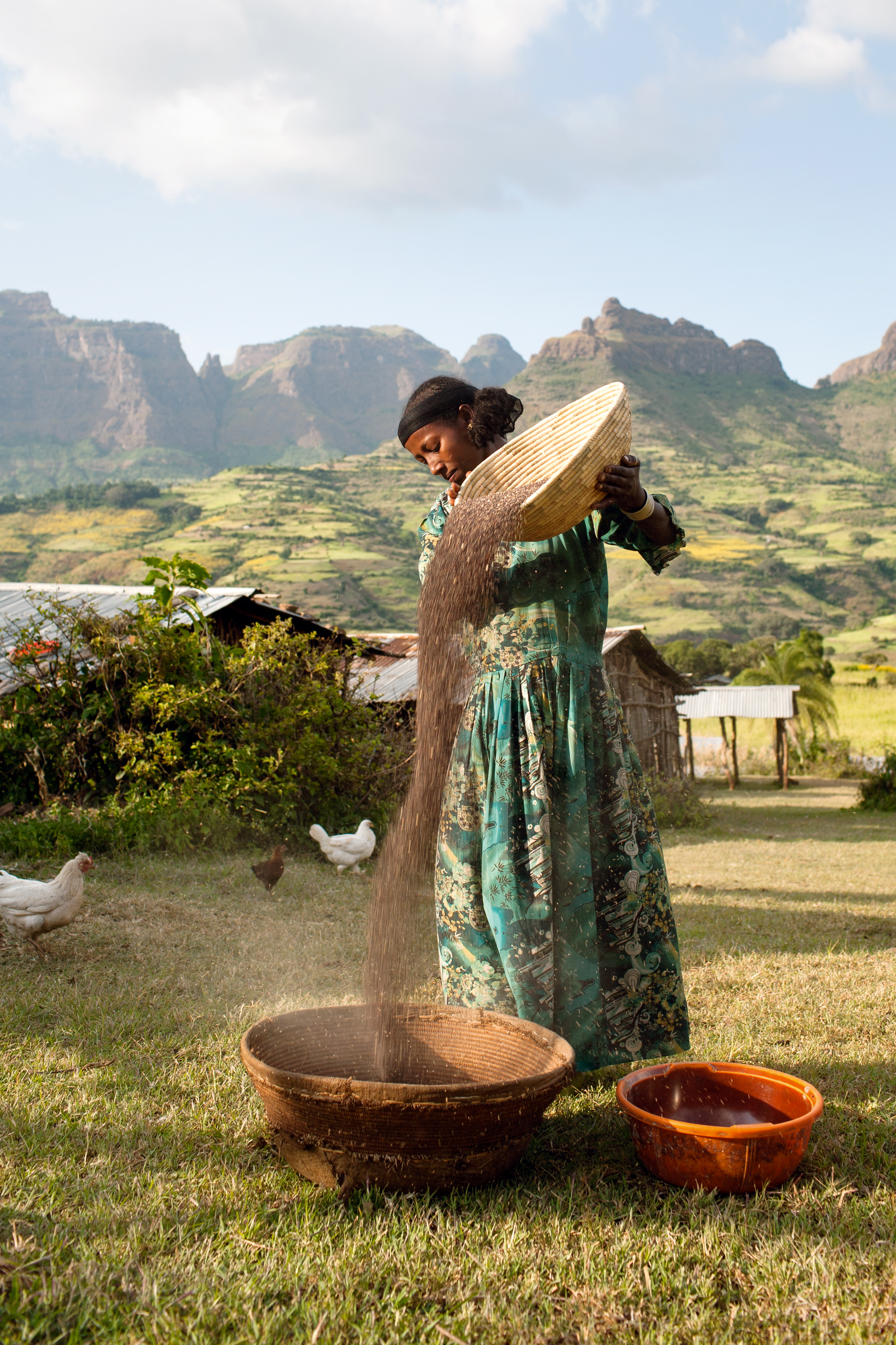 Azanu is winnowing millet outside her house in Lamu, a village in the lowlands of the stunning Simien Mountains in northern Ethiopia.