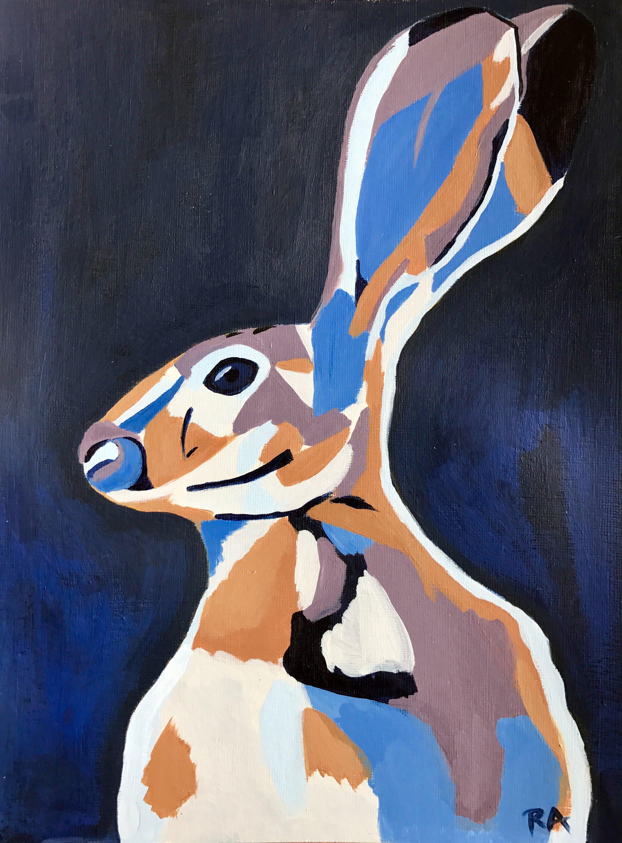 Midnight Hare, acrylic on paper, 2016