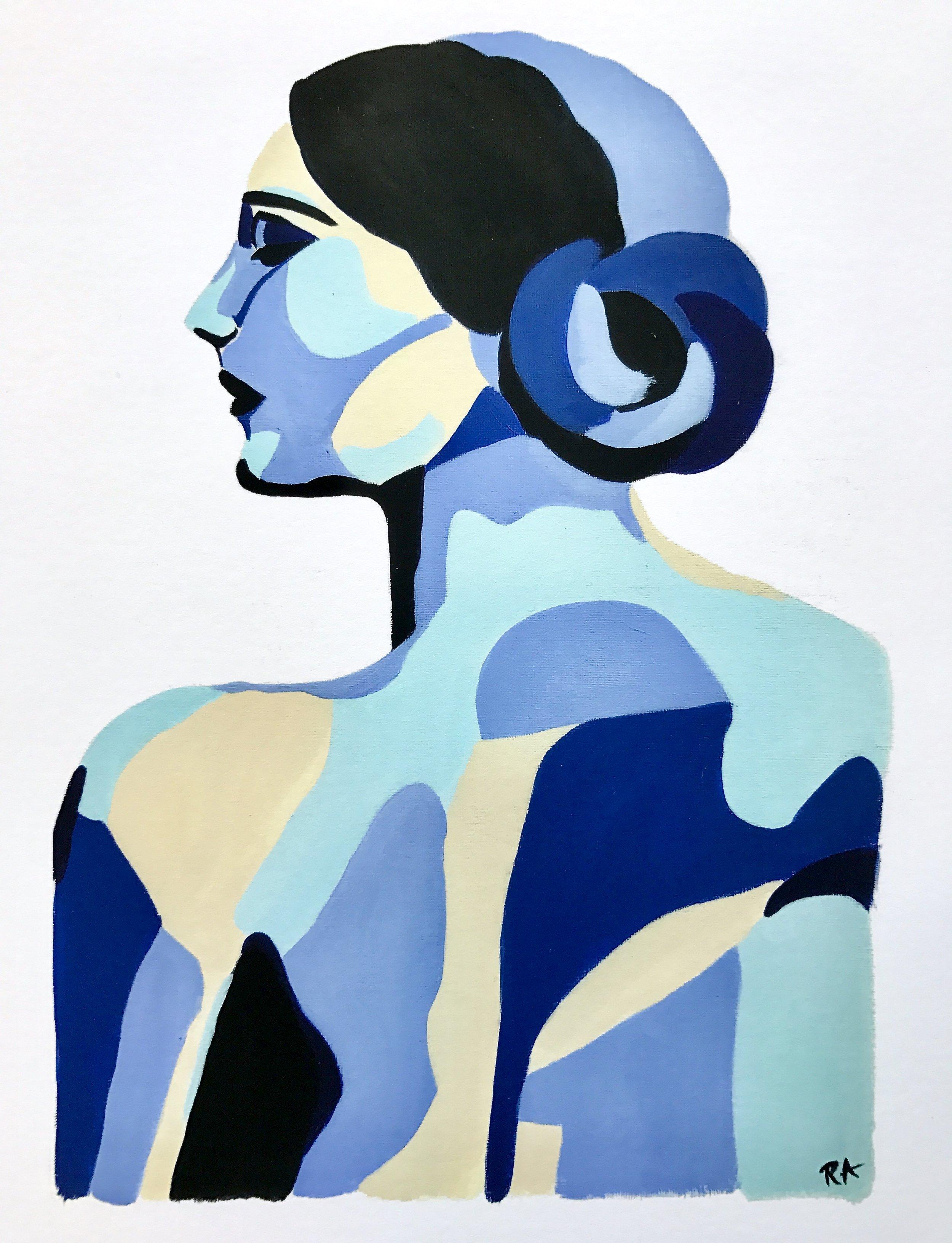 Royal Blue Woman Portrait, 2016