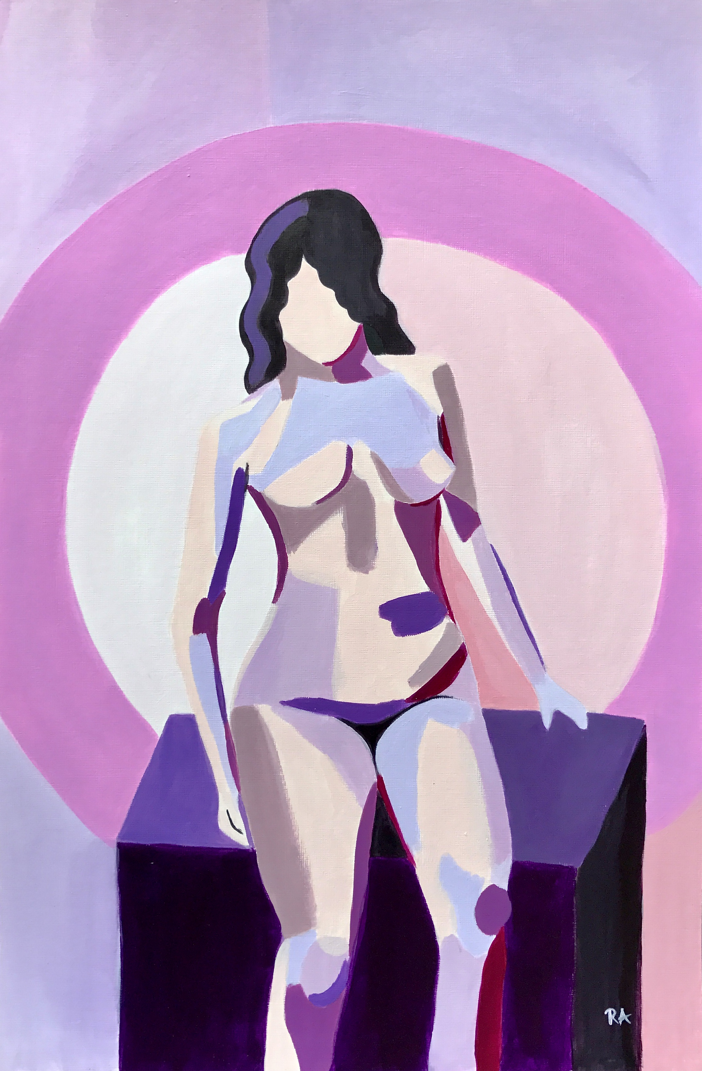 The Pedestal, acrylic on paper, 2017