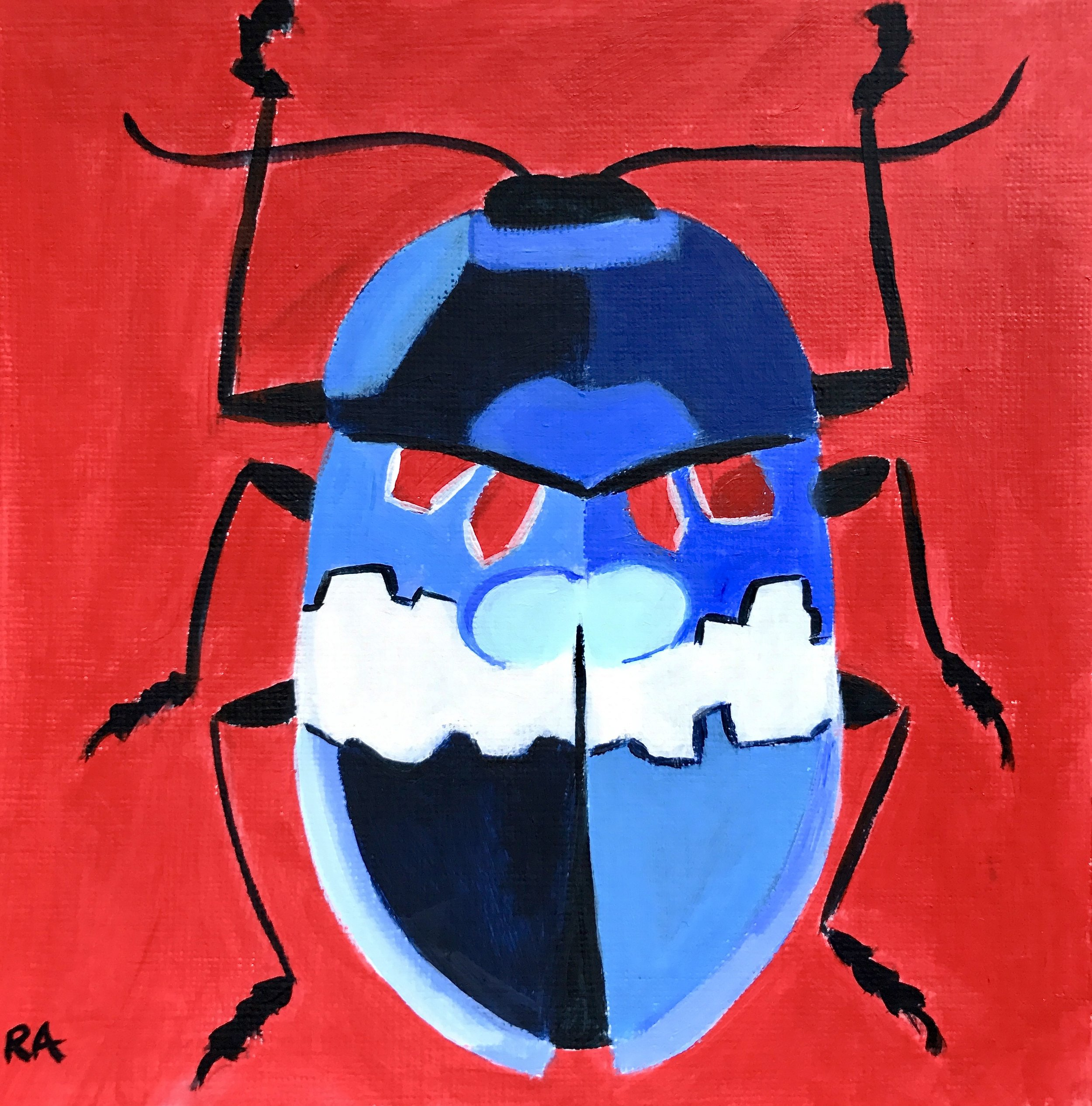 Red, White and Blue Beetle, acrylic on paper, 2017