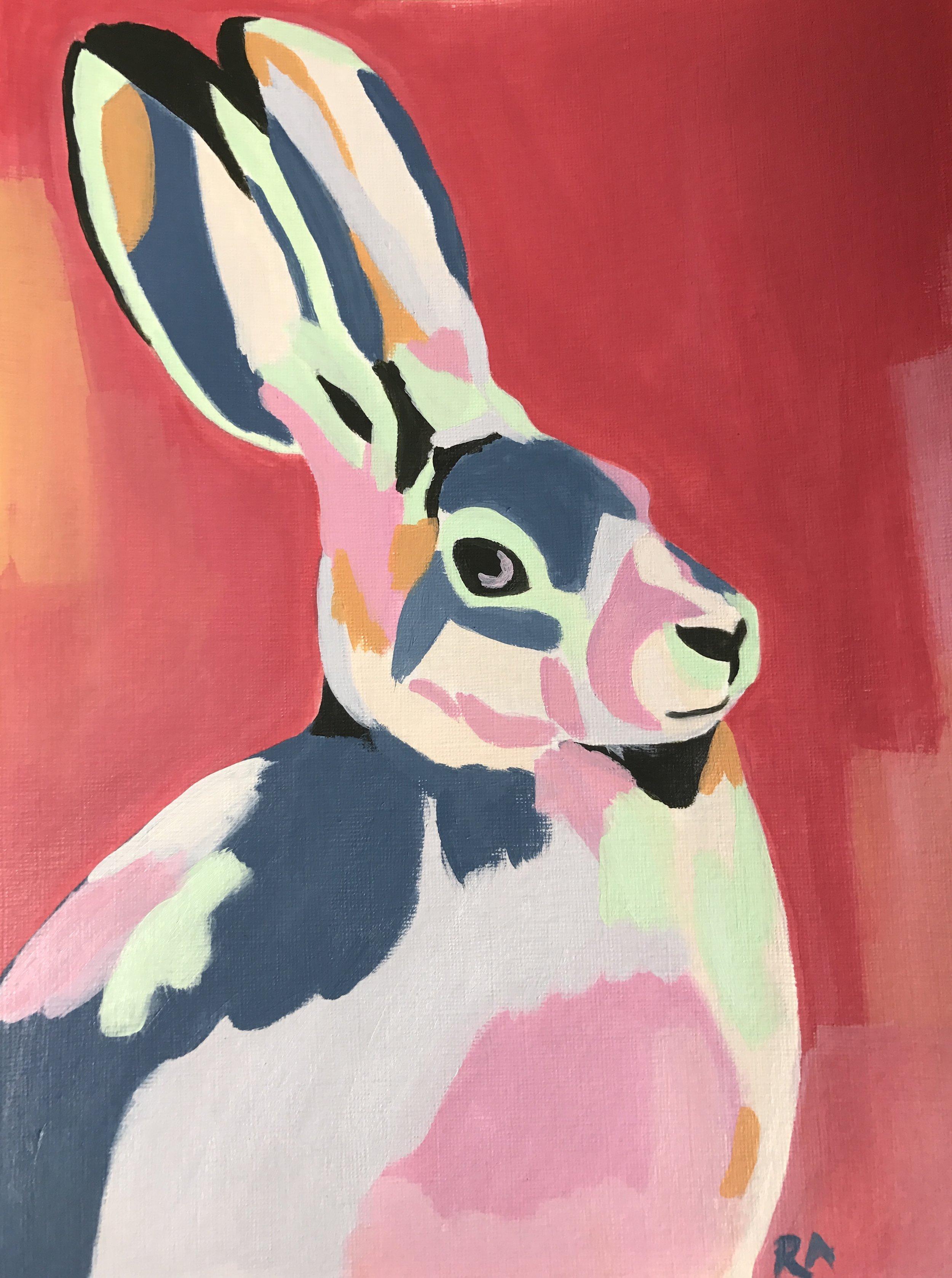 Rainbow Rabbit, acrylic on paper, 2016