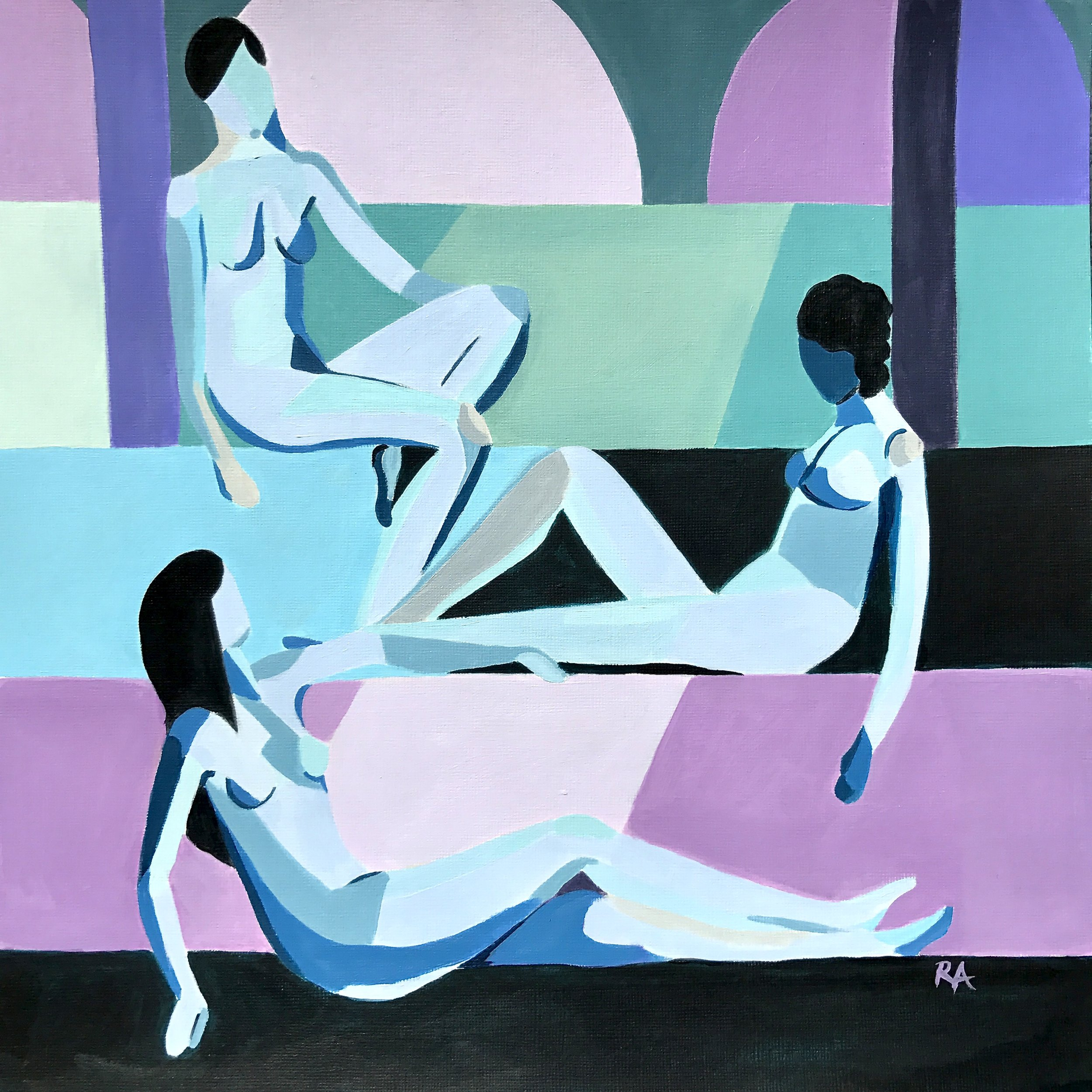 The Atrium  - Three nudes casually planning world domination12x12 inches, $125