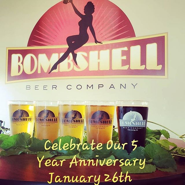 Bombshell is celebrating 5 years on Jan 26th! Head out to Holly Springs to drink delicious beer and a great time!  #trianglebeer