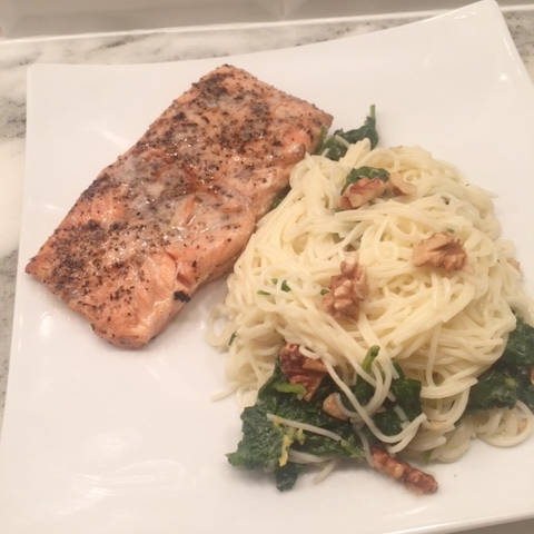 Thursday night dinner: smoky-lemon salmon filet + everything but the fridge pasta