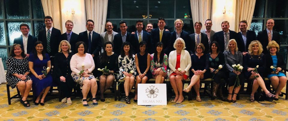 Sigma Nu Seniors with their moms, April 2019