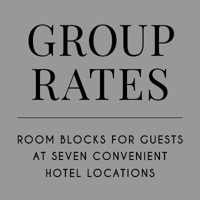 Group Rates. Room Blocks at seven convenient hotel locations