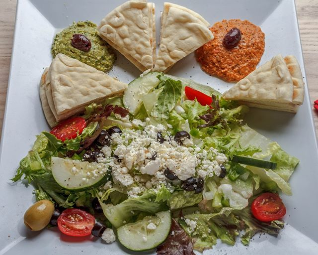 """Every Wednesday is $6.00 Salad Day at Glory Bound! Join us for lunch or dinner (11am-10pm), dine-in or carry-out and enjoy your favorite salad for only $6! (Salads with steak or seafood add $1) Try the """"Salad & Hummus"""" today!"""