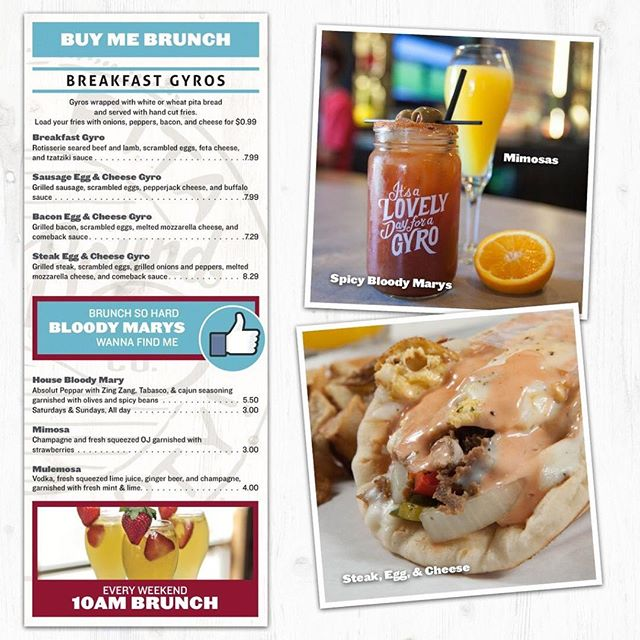Every Saturday and Sunday from 10am-Until we feature our Brunch Menu! Spicy Bloody Marys, Mimosas, Mulemosas, and Breakfast Gyros with Loaded Fries! Come see us!