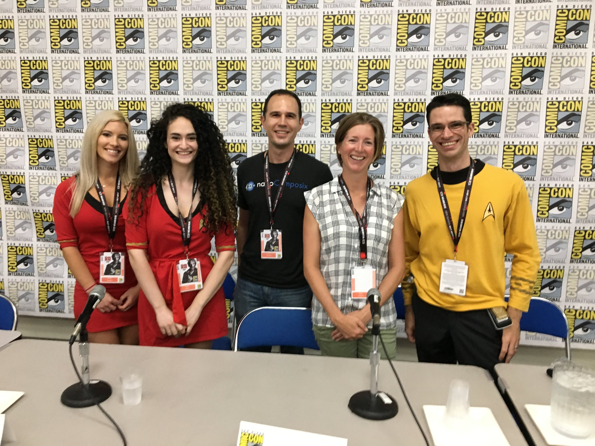 san diego comic con 2017. left to right: jeanne lemaster, chava angell, aaron saunders, robin ihnfeldt, darren lipomi.