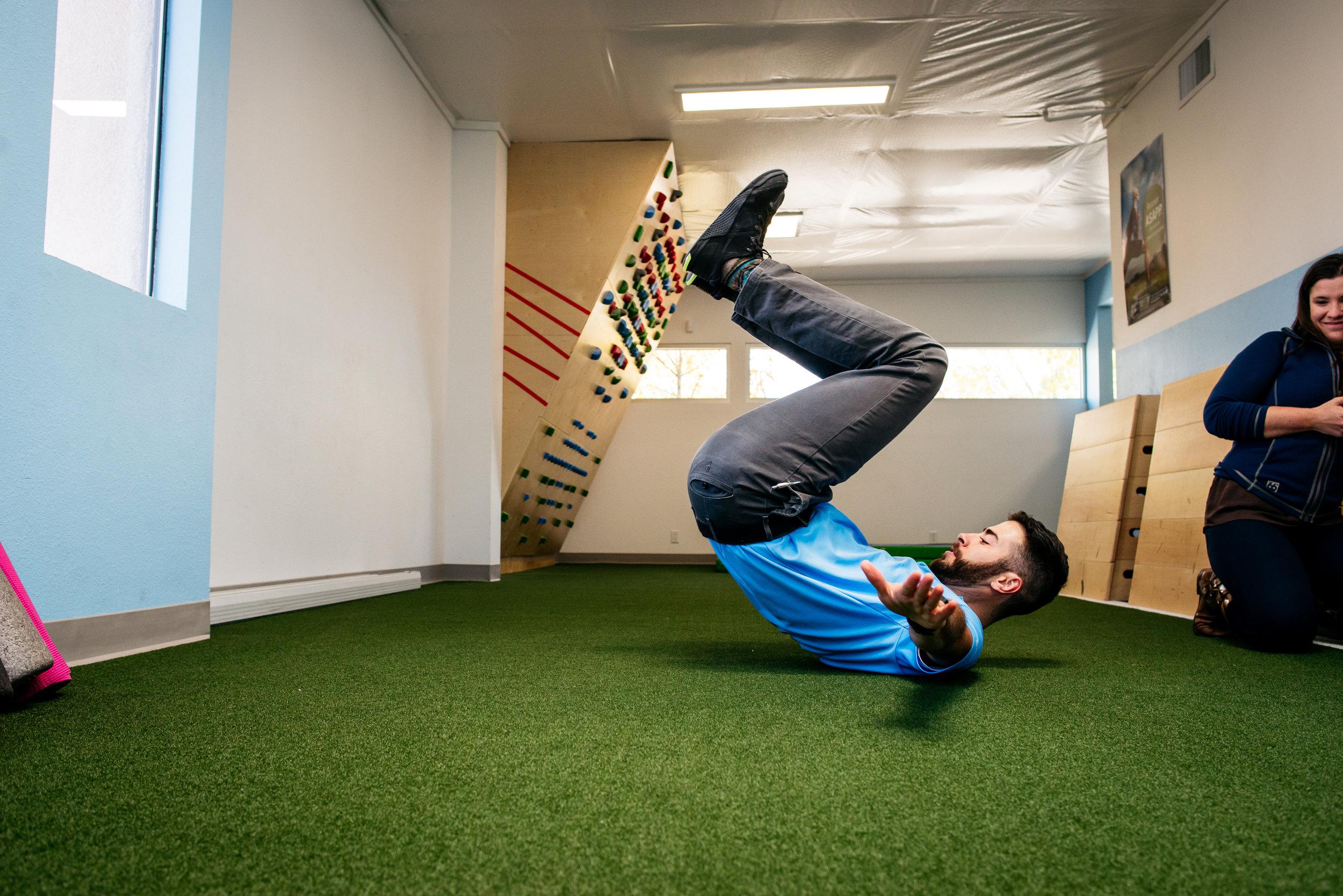 Falling backward snowboarding Nate Vigil Langford PT Albuquerque