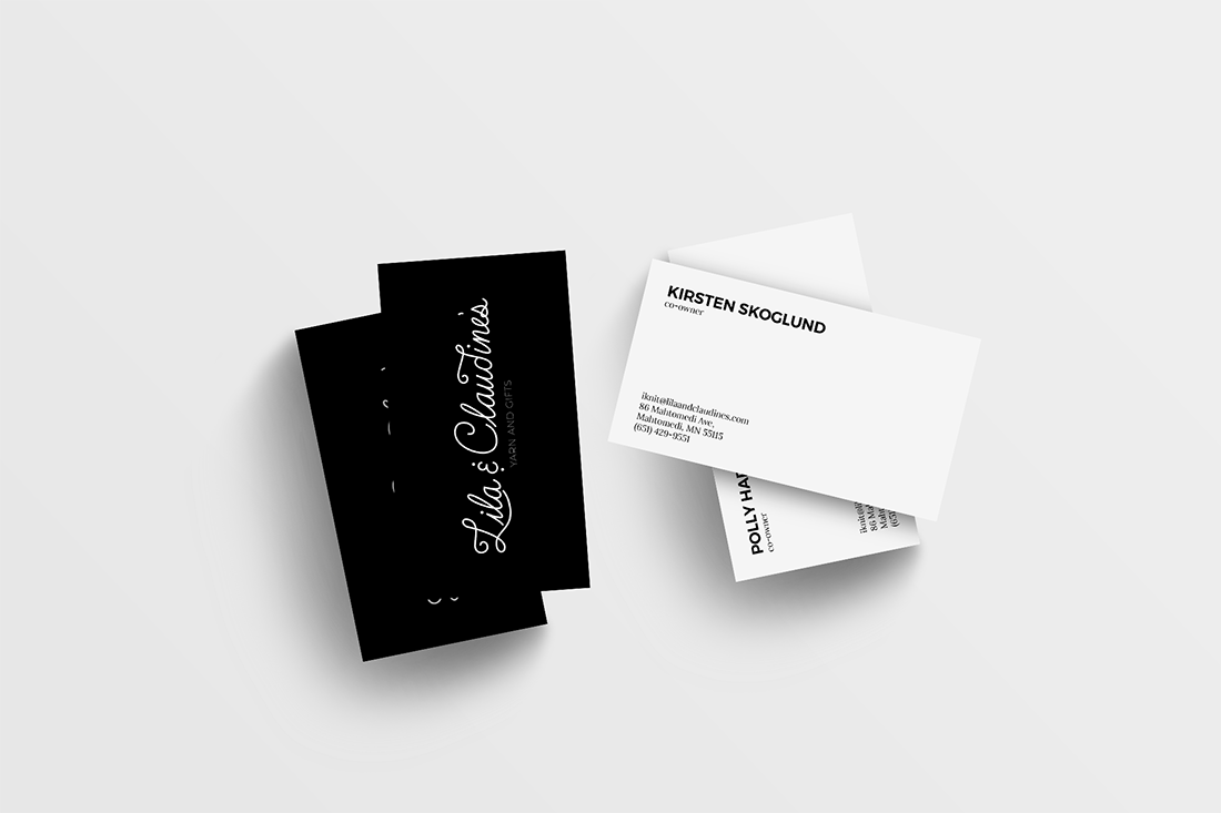 Lila & Claudine's business cards.