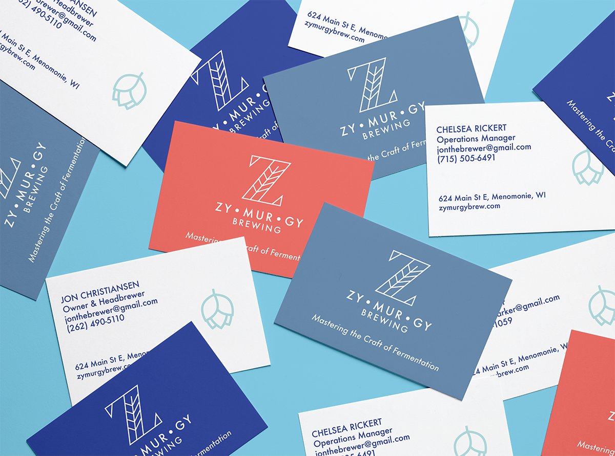 Business cards in various colors.