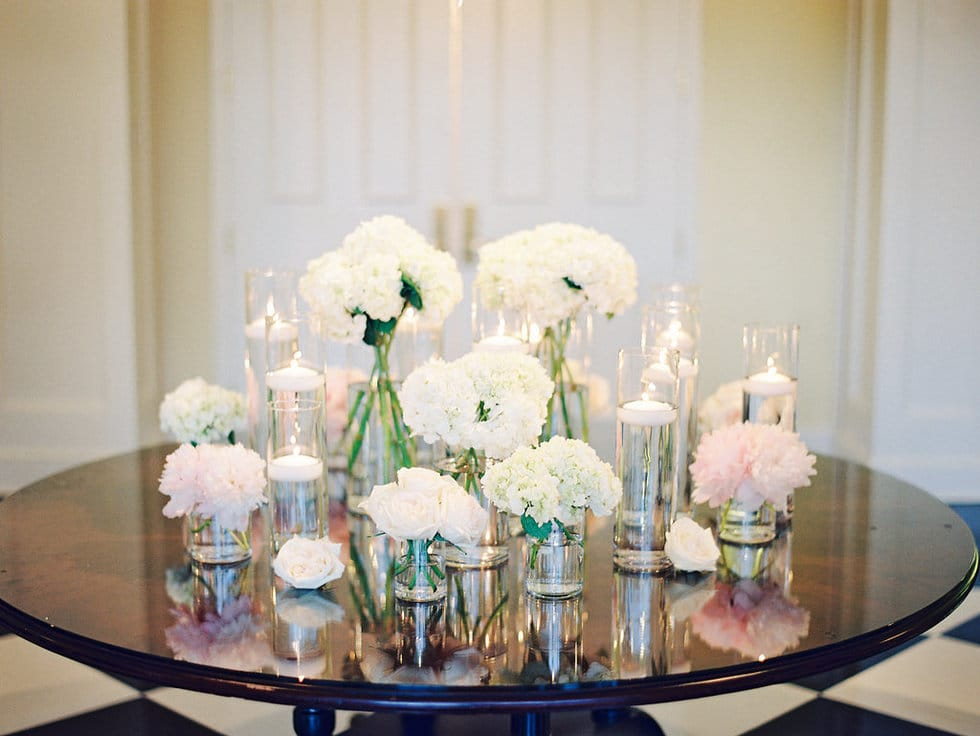 Entryway Centerpiece peonies Hydrangea White and Blush