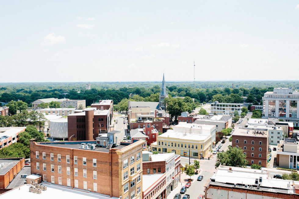 Downtown Durham NC rooftop view