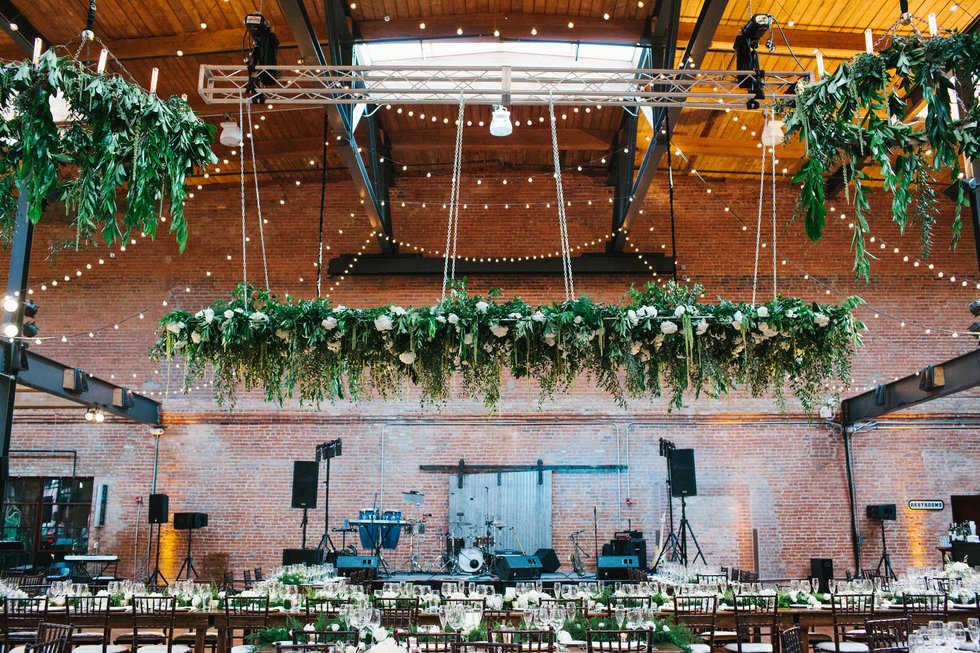 Stunning greenery installation at Bay 7 wedding