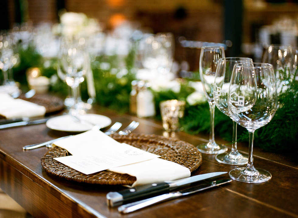 Placesettings at Bay 7 wedding
