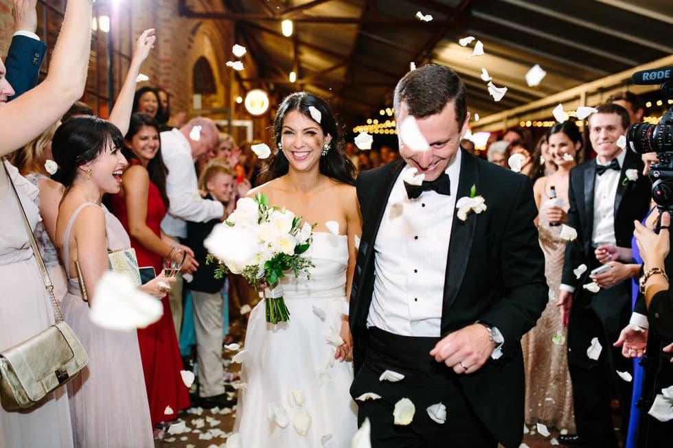 Wedding rose petal exit from Bay 7 Durham