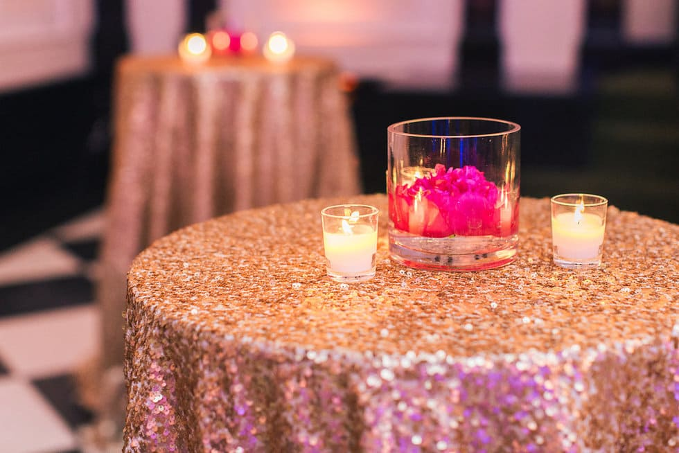Pink Peony and Gold Sequin Detail