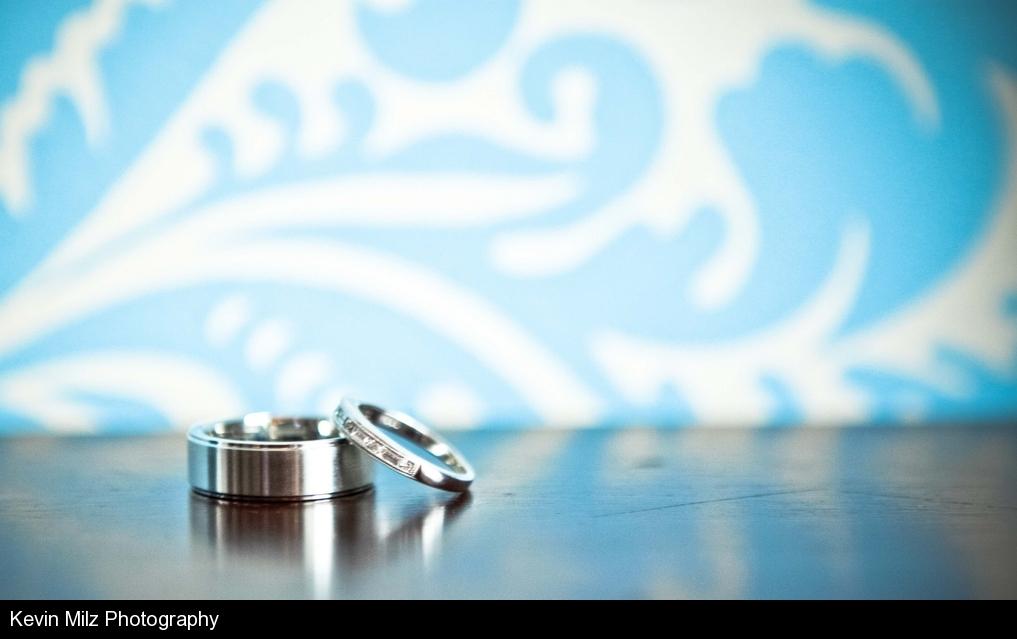 Rings, Blue Damask Background