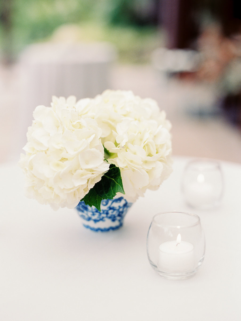 Low Ginger Jar Floral Arrangements with Hydrangeas