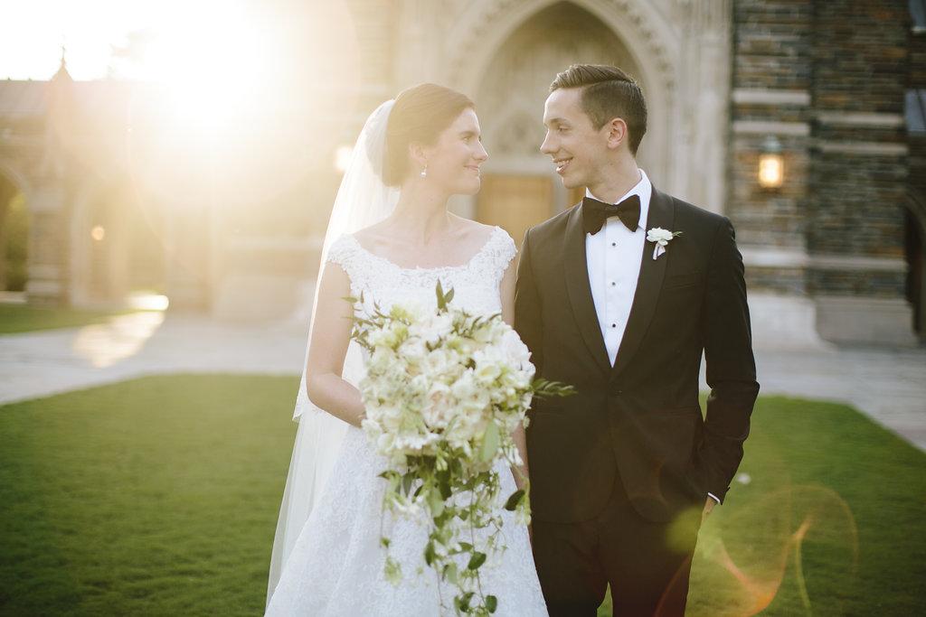 Bride and groom at Duke Chapel wedding