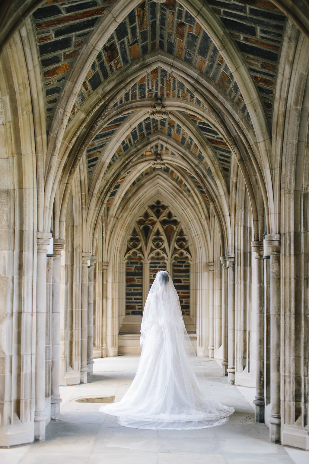 Bridal portrait at Duke Chapel in Durham, NC