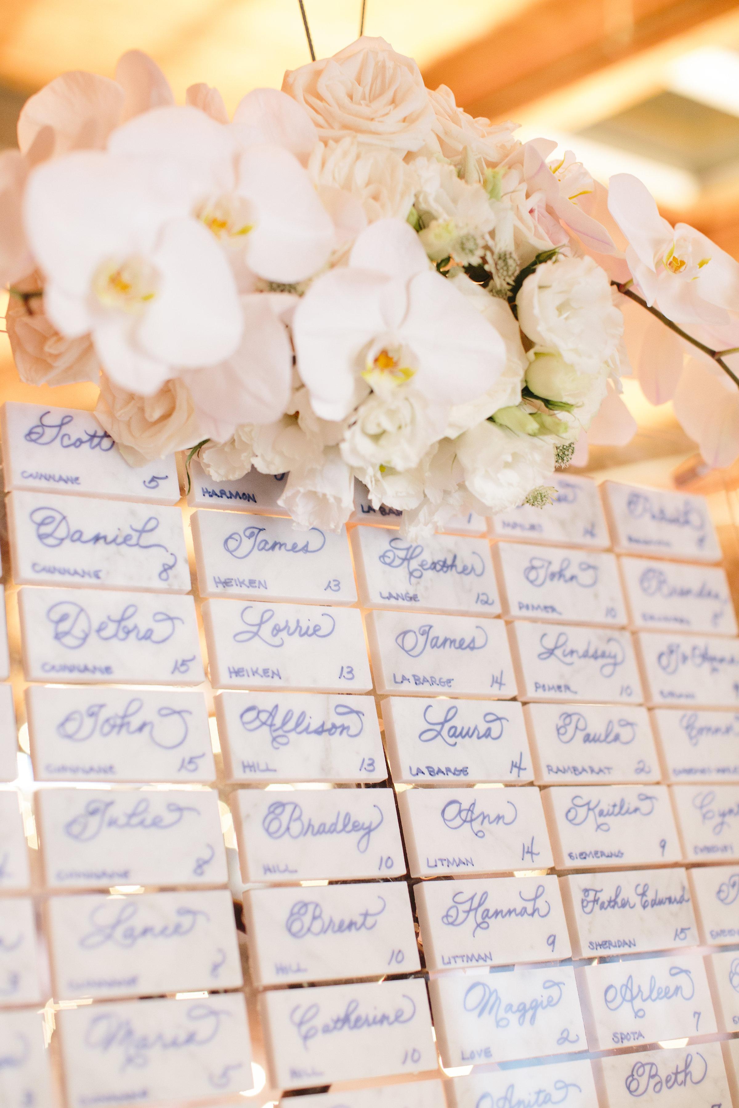 Wedding escort cards under glass