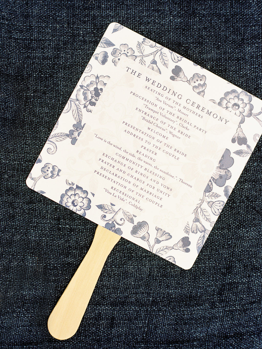 Floral pattern fan wedding program