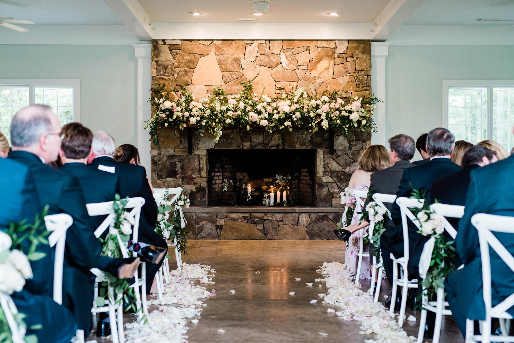 Indoor wedding ceremony at Fearrington Village