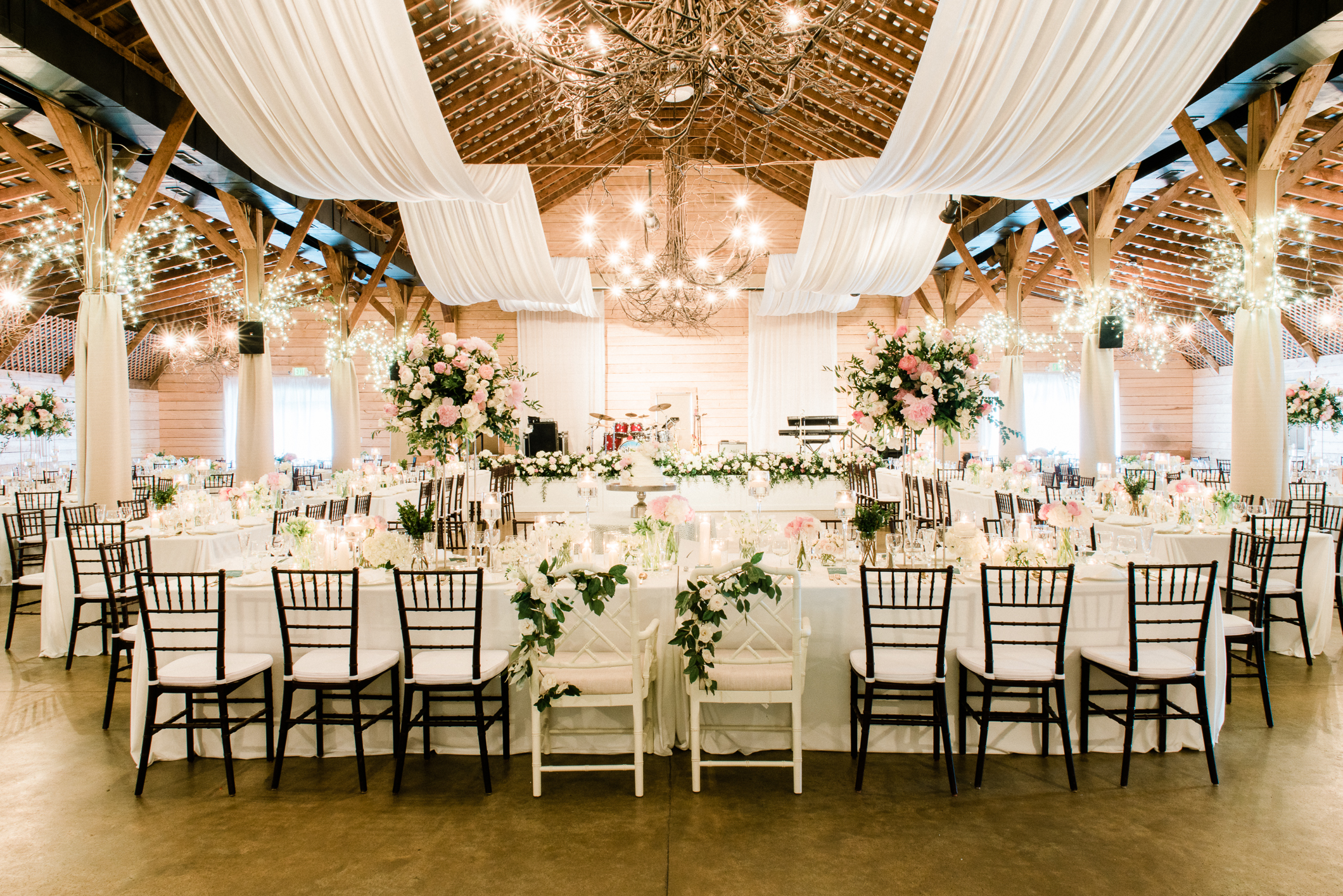 Fearrington Village wedding reception with long tables