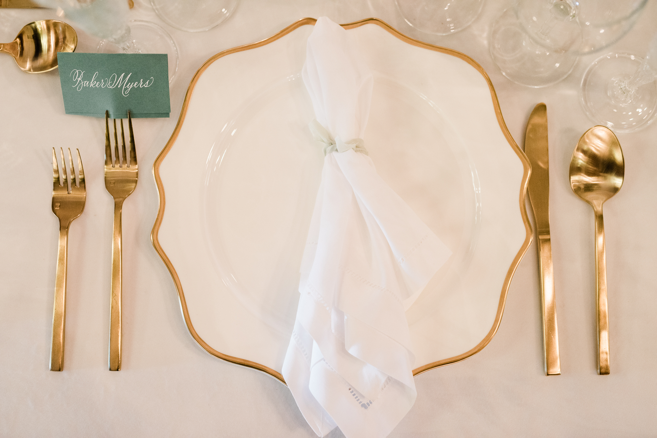 Gold and White Wedding Placesetting with Placecard.jpg