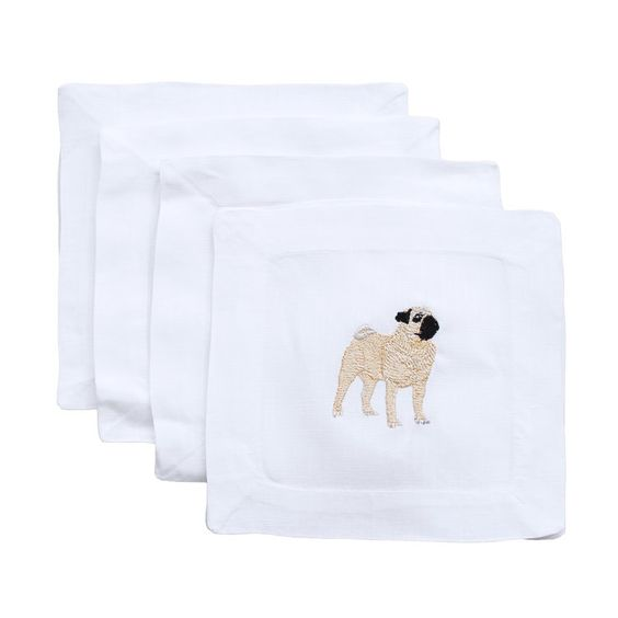 Linen Cocktail Napkins - Complete a bar cart with these lovely linen cocktail napkins! Lettermade has the cutest selection of designs from puppies to Coco Chanel! They are even machine washable for easy care. We know more than a few past and current couples that definitely need a set of these (Truffle, Mosey, Charlie, just to name a few)!