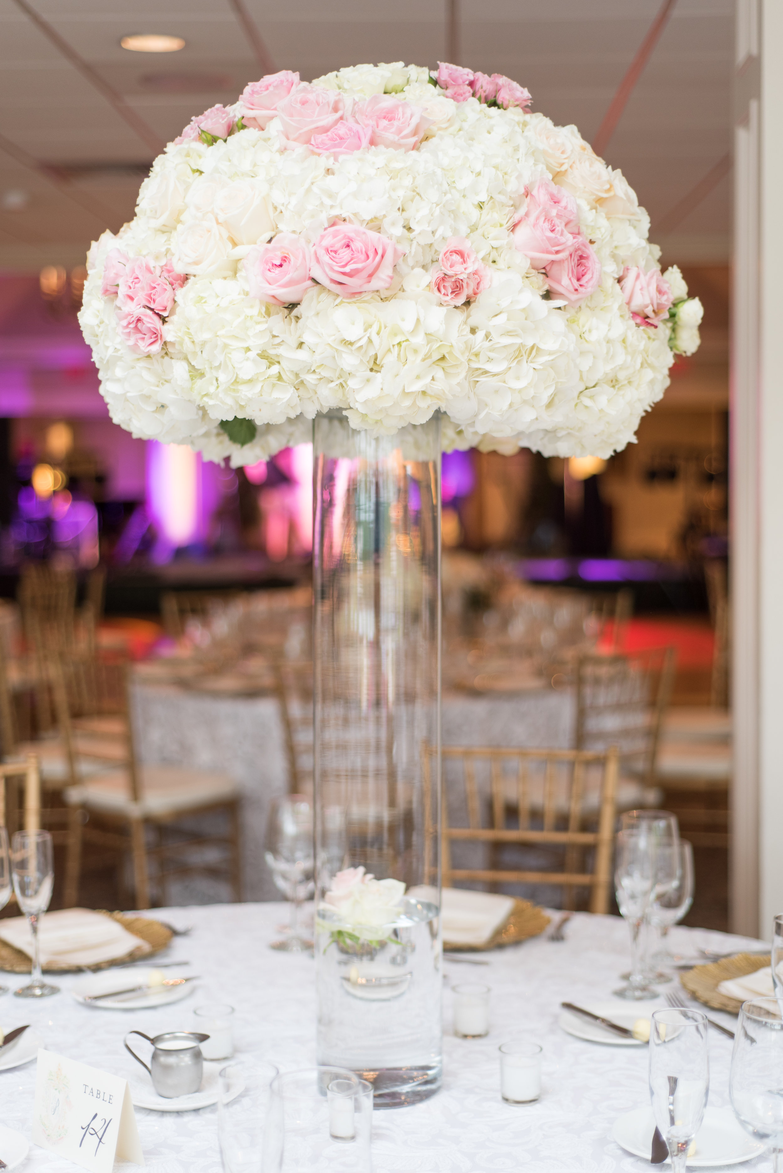 Tall Floral Arrangement with Hydrangea and Pink Roses.JPG