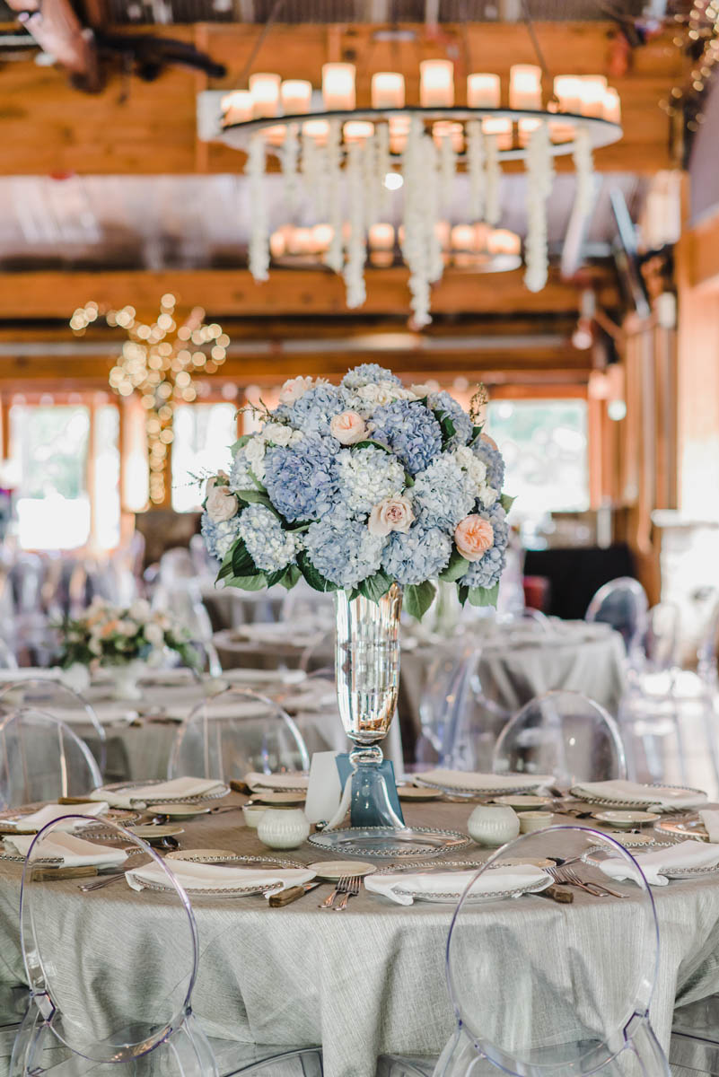 Medium height hydrangea centerpiece