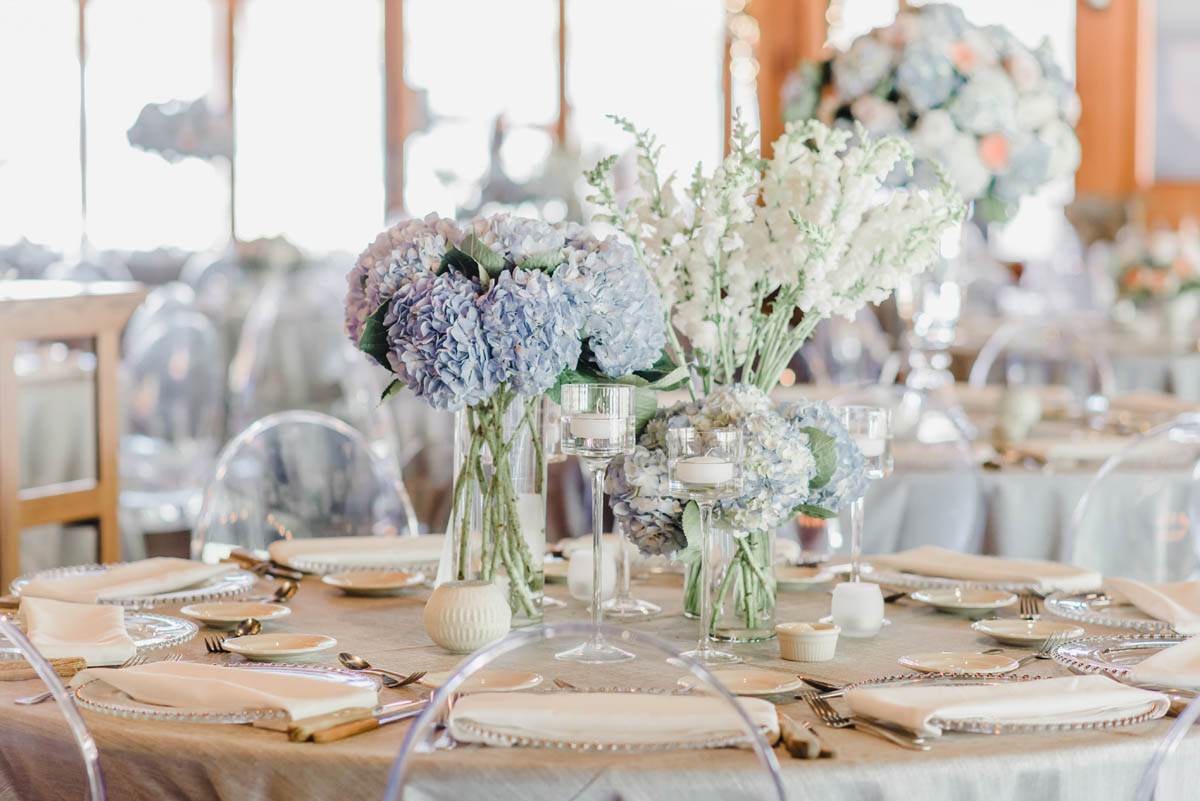 Mixed hydrangea wedding centerpieces