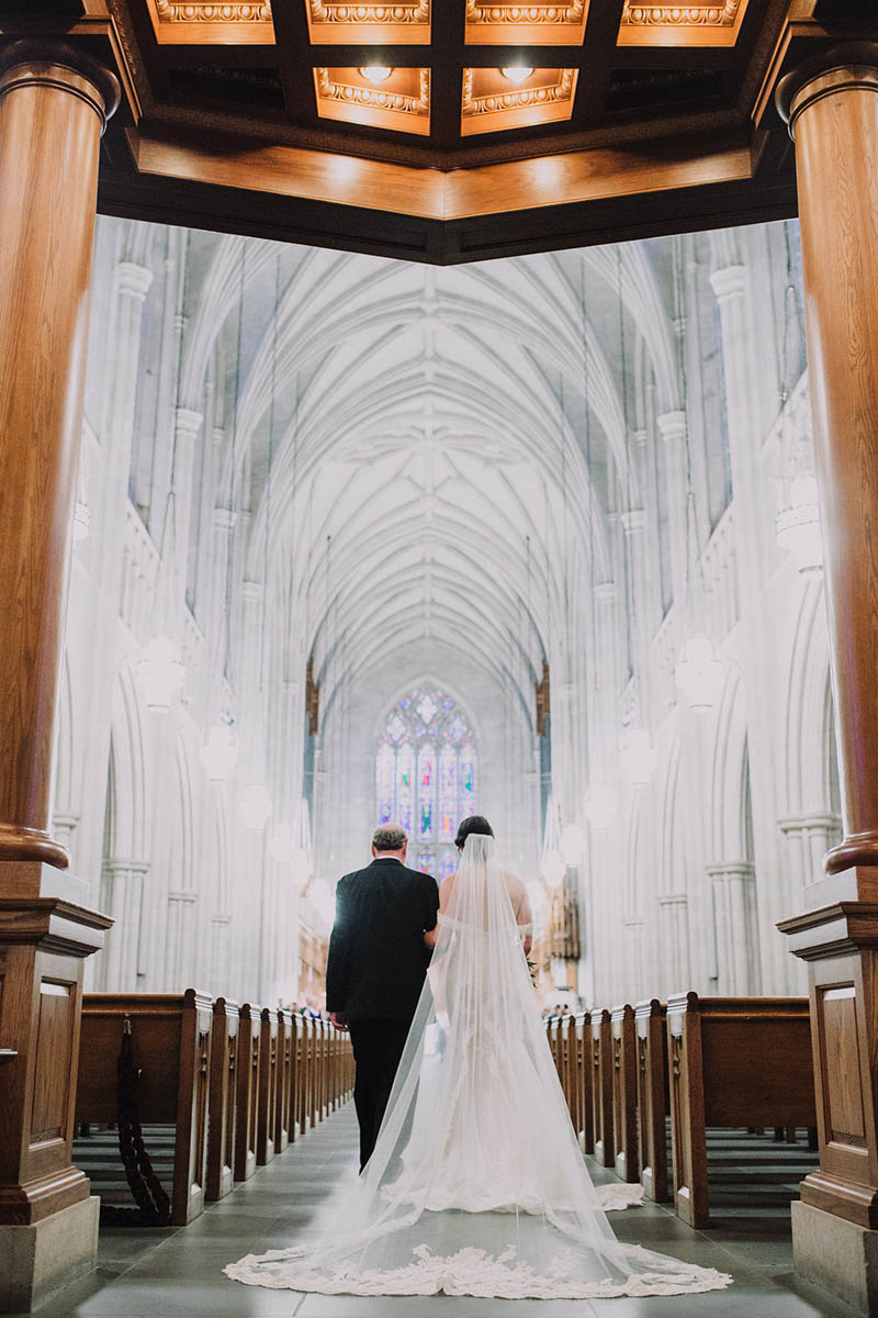 Bride enters Duke Chapel
