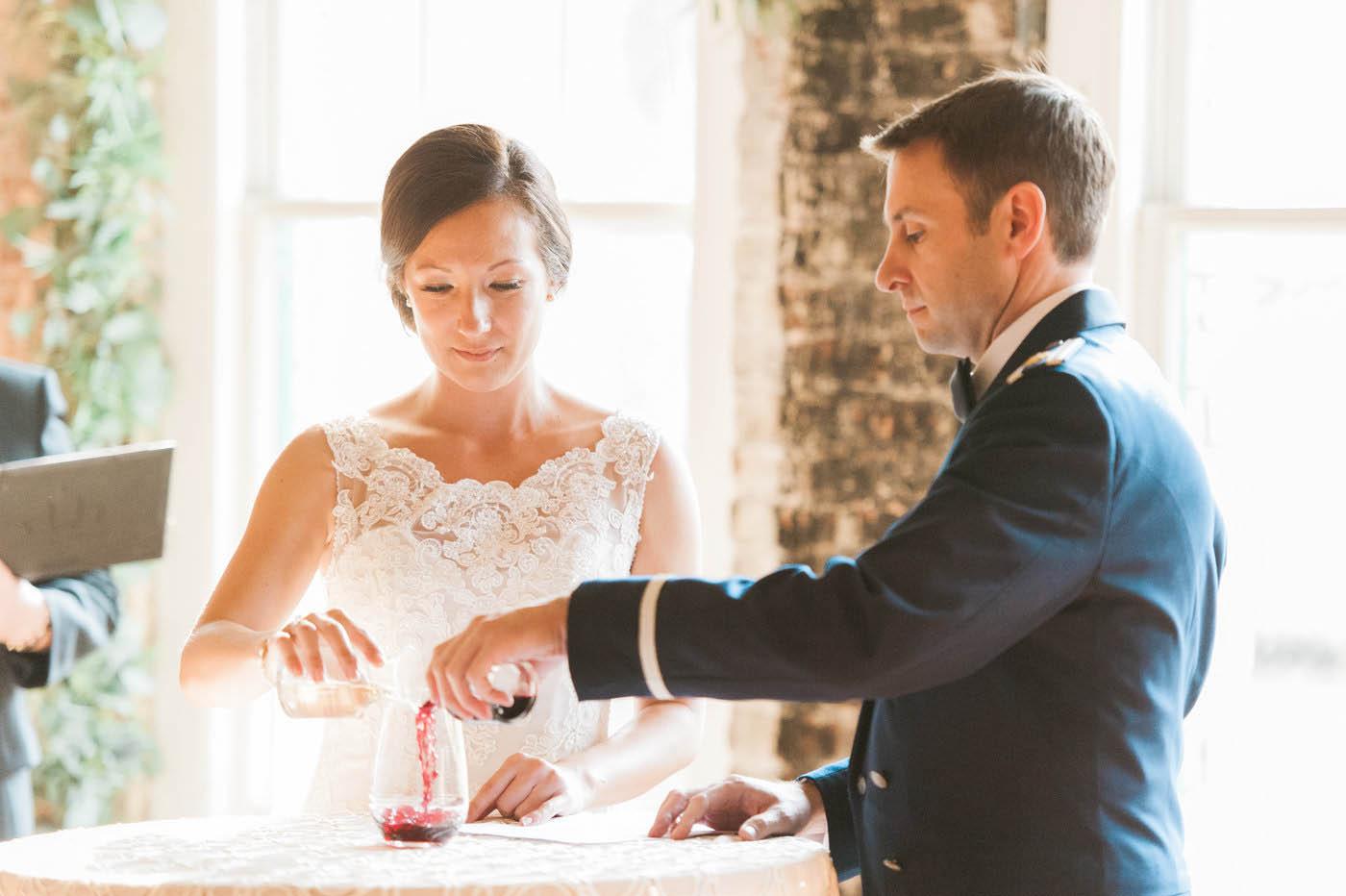 Wine uniting ceremony at wedding