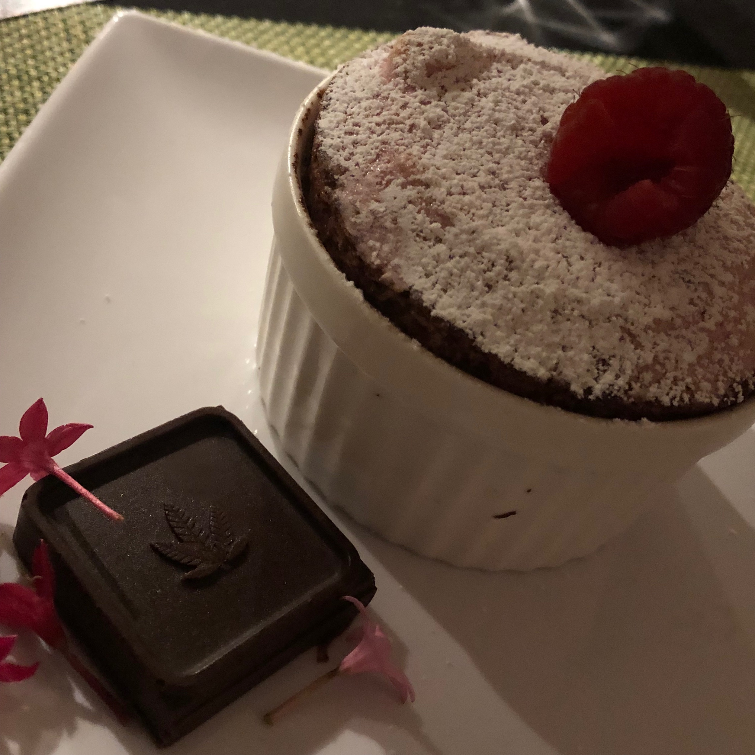 Mangia Ghanja's perfectly executed cloud-like raspberry soufflé with ganache square - all other desserts are entirely ruined for me after this one.
