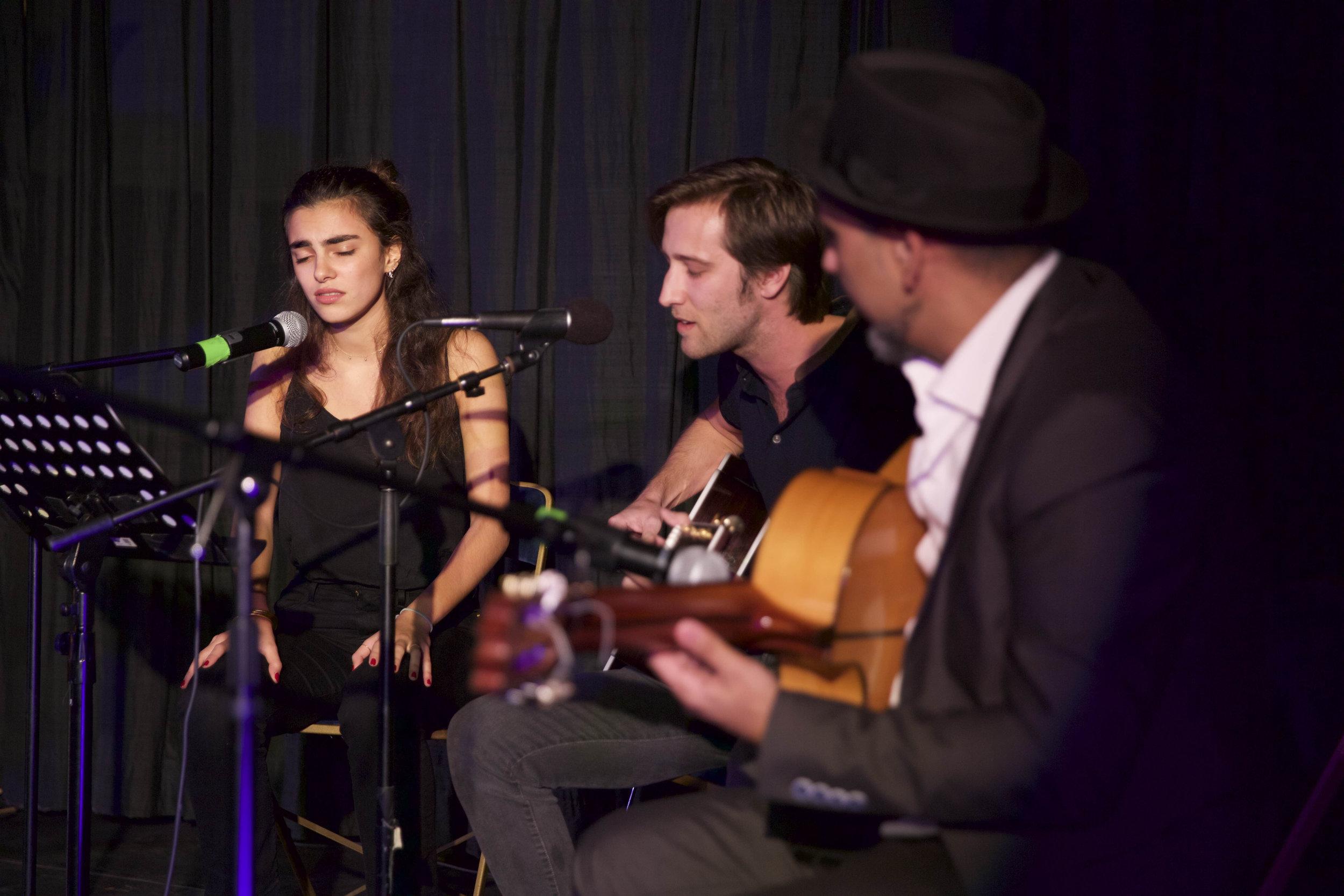 Berklee students Constance Gozlan and Victor Martín perform with guitarist Rycardo Moreno during the Berklee Meets Lorca concert. Instituto Cervantes, Oct 18.