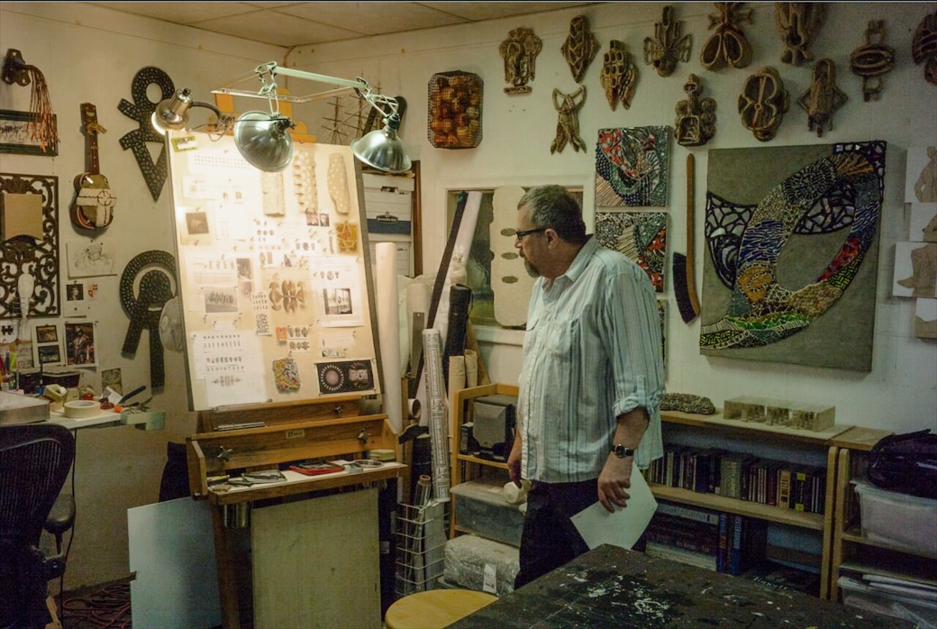 Artist Robert Mirek in his Oak Park studio. Photo by Brian Day.