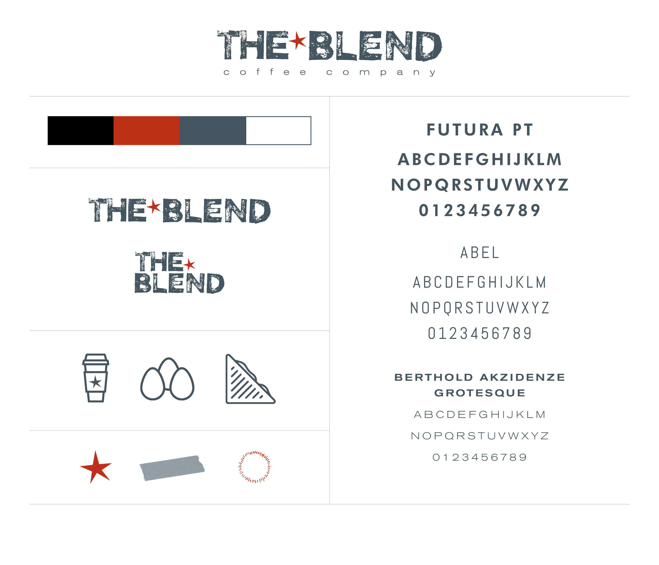 The Blend brand board by The Qurious Effect. Brand and Squarespace web design.