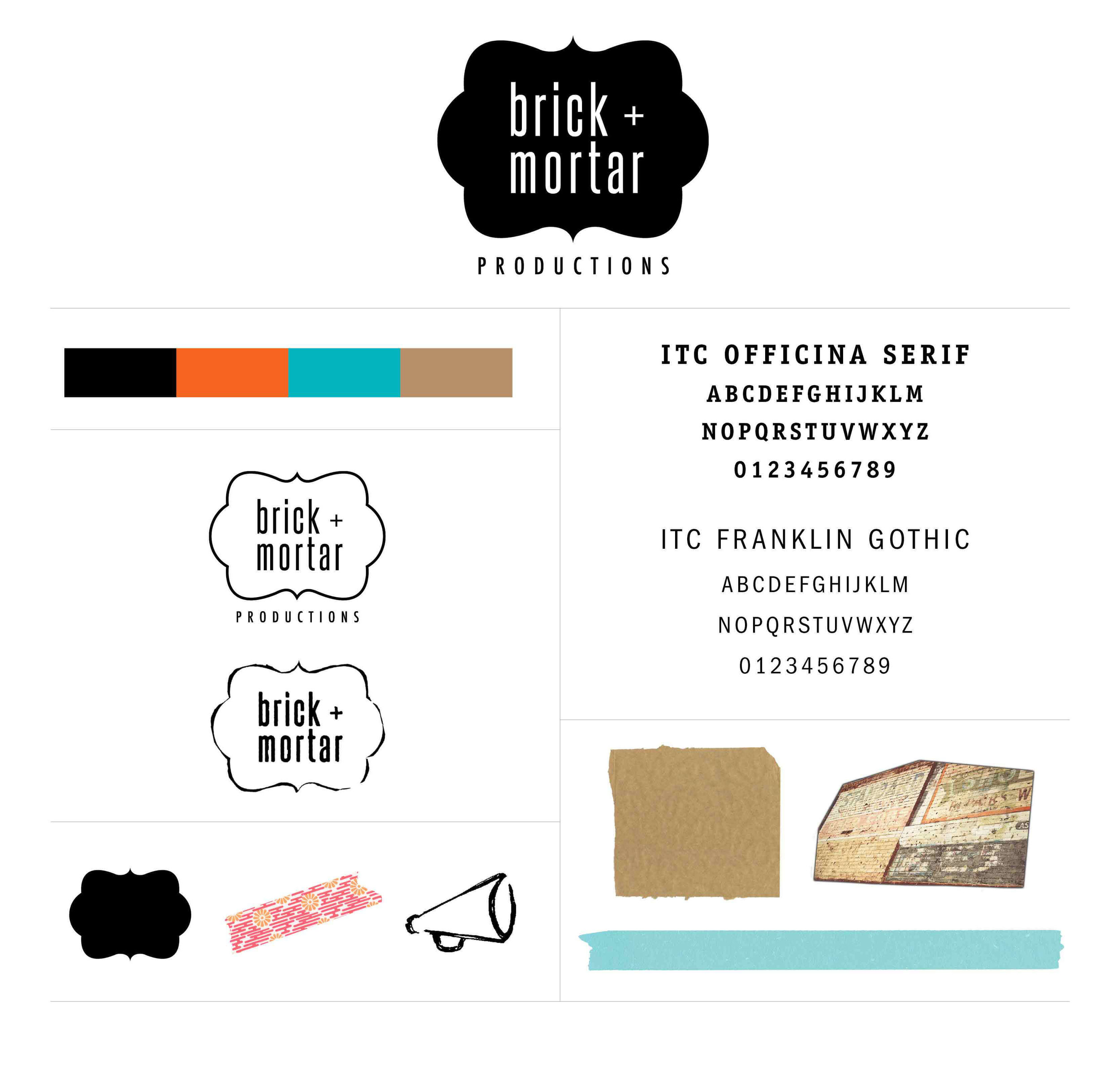 Brick and Mortar brand board by The Qurious Effect, a brand and Squarespace web design company